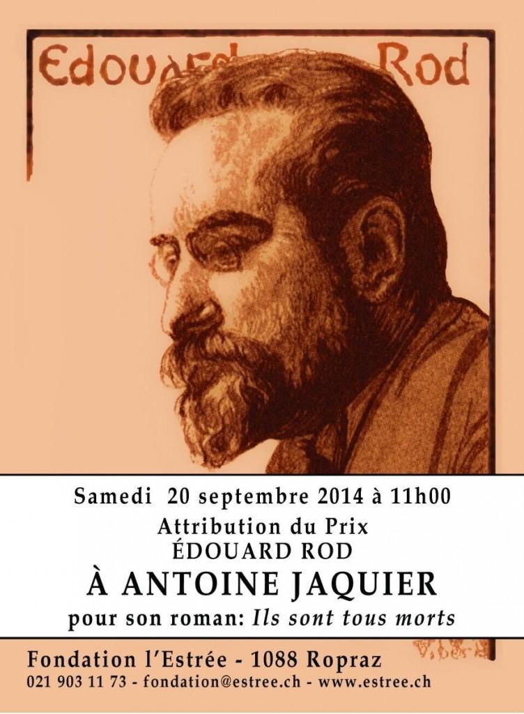 Antoine Jaquier est le lauréat du Prix Édouard Rod 2014.